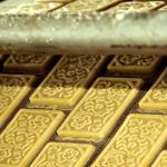 Отформованные изделия перед выпечкой на линии печенья